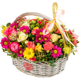 Корзина с цветами «Акварель»