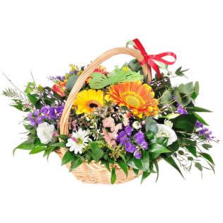 Цветы в корзинке «Радуга»
